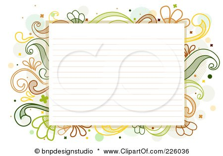 Royalty-Free (RF) Clipart Illustration of Ruled Paper Bordered With Green And Yellow Flourishes by BNP Design Studio