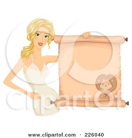 Royalty-Free (RF) Clipart Illustration of a Blond Leo Girl Holding A Scroll Sign by BNP Design Studio