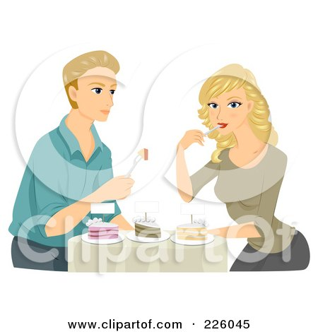 Royalty-Free (RF) Clipart Illustration of a Young Couple Sampling Wedding Cakes by BNP Design Studio