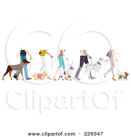 Royalty-Free (RF) Clipart Illustration of Feet Of People Walking Their Dogs by BNP Design Studio