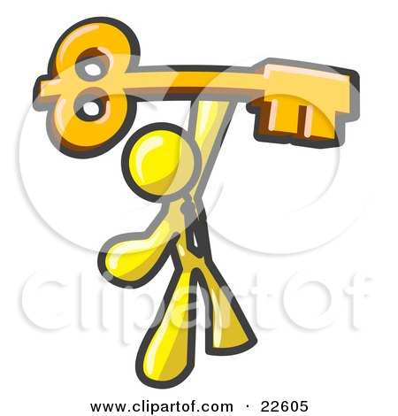 Clipart Illustration of a Yellow Businessman Holding A Large Golden Skeleton Key, Symbolizing Success by Leo Blanchette