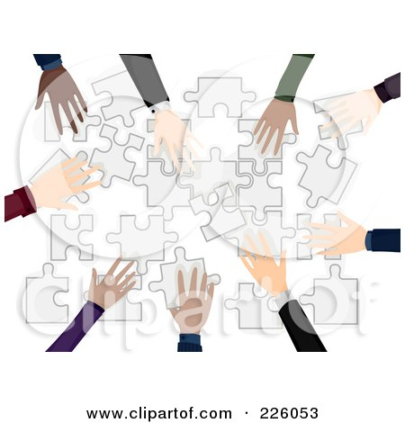 Royalty-Free (RF) Clipart Illustration of Diverse Business Hands Building A Puzzle by BNP Design Studio
