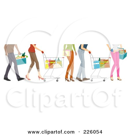 Royalty-Free (RF) Clipart Illustration of Feet Of People Shopping In A Grocery Store by BNP Design Studio