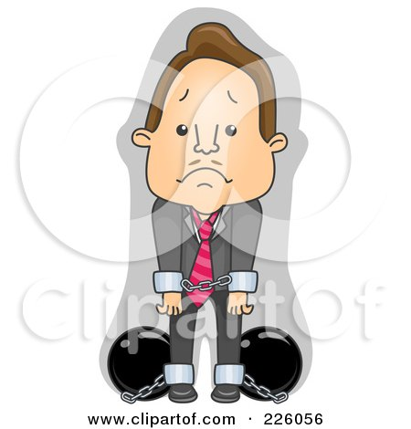 Royalty-Free (RF) Clipart Illustration of a Businessman In Cuffs And Chains by BNP Design Studio