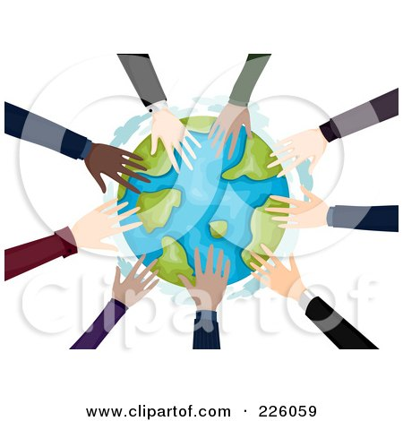 Royalty-Free (RF) Clipart Illustration of a Circle Of Business Hands Touching The Globe by BNP Design Studio