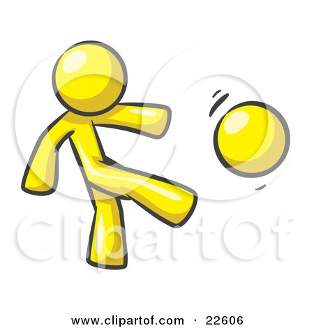 Clipart Illustration of a Yellow Man Kicking A Ball Really Hard While Playing A Game by Leo Blanchette
