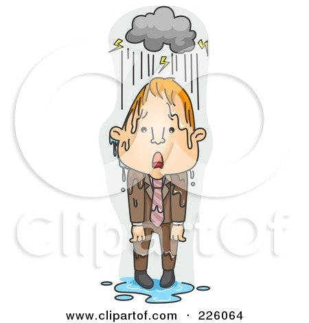 Royalty-Free (RF) Clipart Illustration of a Businessman Caught In The Rain by BNP Design Studio