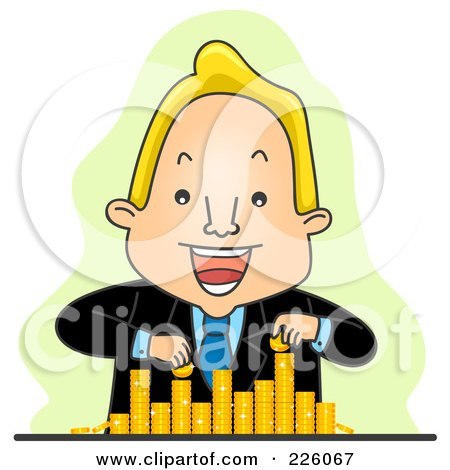 Royalty-Free (RF) Clipart Illustration of a Businessman Counting And Stacking His Coins by BNP Design Studio
