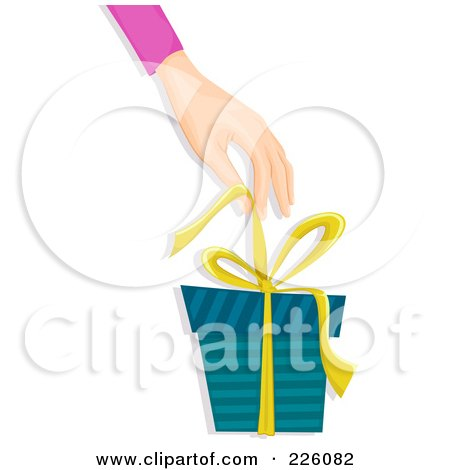 Royalty-Free (RF) Clipart Illustration of a Hand Pulling A Bow Off Of A Gift Box by BNP Design Studio