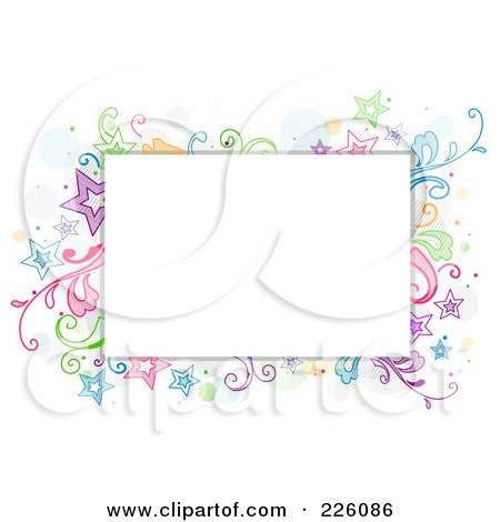 Royalty-Free (RF) Clipart Illustration of a Star And Vine Doodle Around White Space by BNP Design Studio