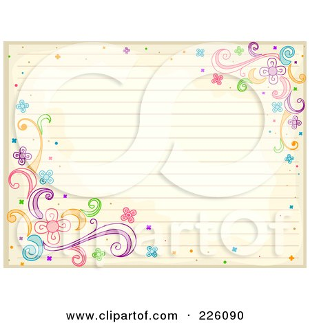 Royalty-Free (RF) Clipart Illustration of Antique Ruled Paper With Swirl And Flower Doodles  by BNP Design Studio