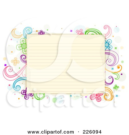 Royalty-Free (RF) Clipart Illustration of Antique Ruled Paper Bordered With Swirl And Flower Doodles by BNP Design Studio