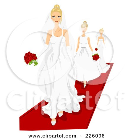 Royalty-Free (RF) Clipart Illustration of Models Walking On A Red Carpet In Wedding Gowns by BNP Design Studio