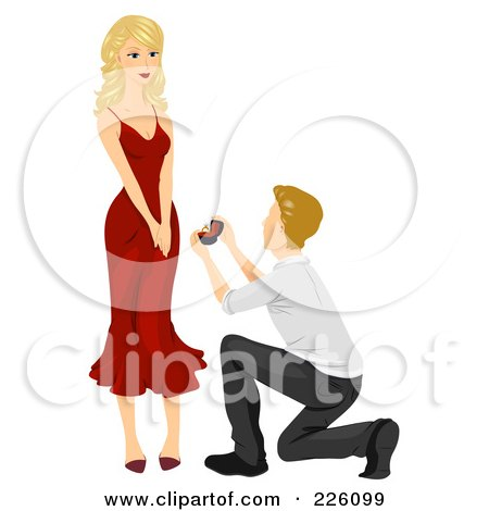 Royalty-Free (RF) Clipart Illustration of a Man Looking Up At His Girlfriend And Proposing by BNP Design Studio