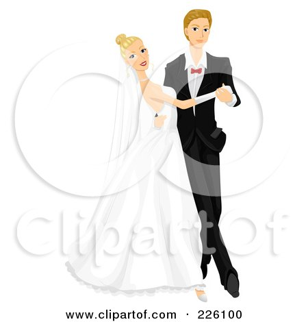Royalty-Free (RF) Clipart Illustration of a Young Wedding Couple Dancing At Their Wedding by BNP Design Studio