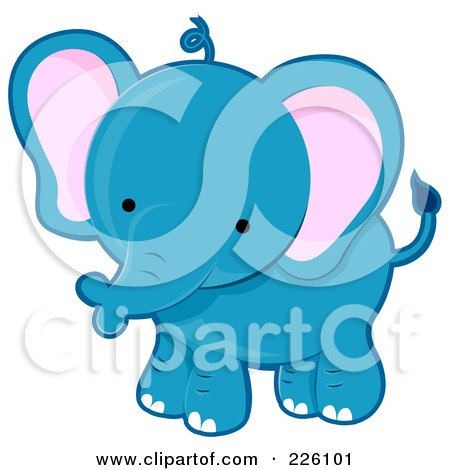 Royalty-Free (RF) Clipart Illustration of a Cute Blue Baby Elephant by BNP Design Studio