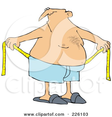 Royalty-Free (RF) Clipart Illustration of a Chubby Man Measuring Around His Waist by djart