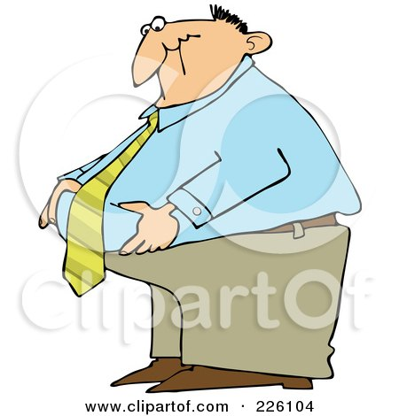 Royalty-Free (RF) Clipart Illustration of a Fat Businessman Standing And Grabbing His Belly Fat by djart