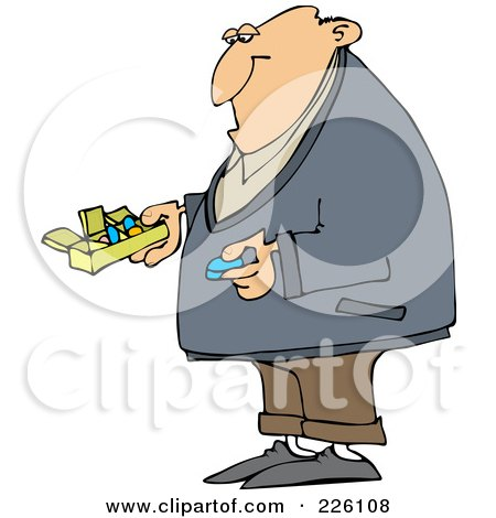 Royalty-Free (RF) Clipart Illustration of a Man Holding A Blue Pill And A Daily Organizer by djart