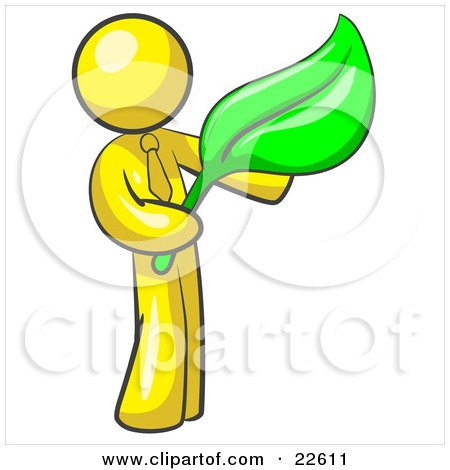 Clipart Illustration of a Yellow Man Holding A Green Leaf, Symbolizing Gardening, Landscaping Or Organic Products by Leo Blanchette