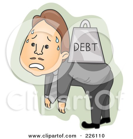 Royalty-Free (RF) Clipart Illustration of a Businessman Walking Around With Heavy Debt On His Back by BNP Design Studio
