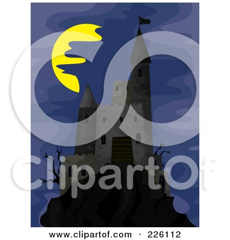 Royalty-Free (RF) Clipart Illustration of a Creepy Castle On A Hill Under A Foggy Night Sky by BNP Design Studio