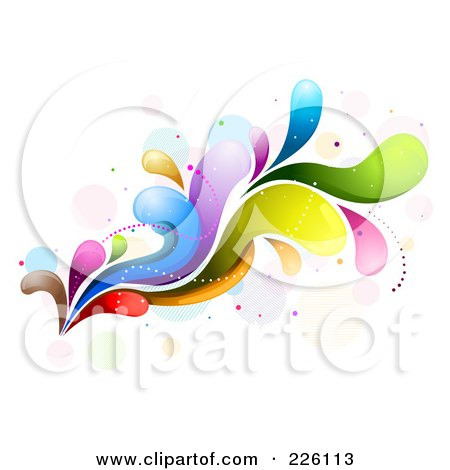Royalty-Free (RF) Clipart Illustration of an Abstract Colorful Wave Background - 2 by BNP Design Studio