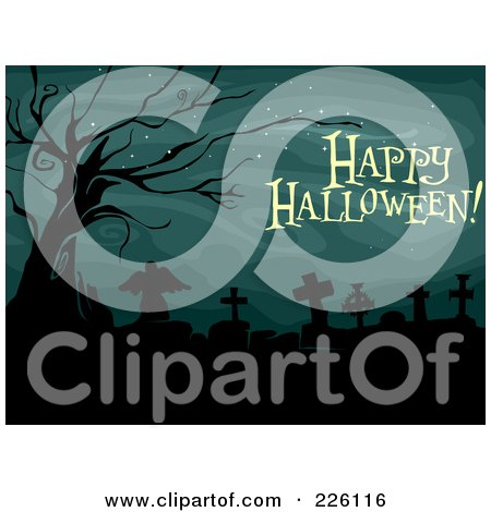 Royalty-Free (RF) Clipart Illustration of a Happy Halloween Greeting Over A Cemetery With A Dead Tree by BNP Design Studio