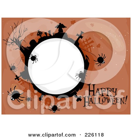 Royalty-Free (RF) Clipart Illustration of a Happy Halloween Greeting By A Spidery Cemetery Globe On Brown by BNP Design Studio