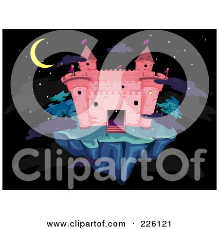 Royalty-Free (RF) Clipart Illustration of a Pink Castle On A Floating Island At Night by BNP Design Studio