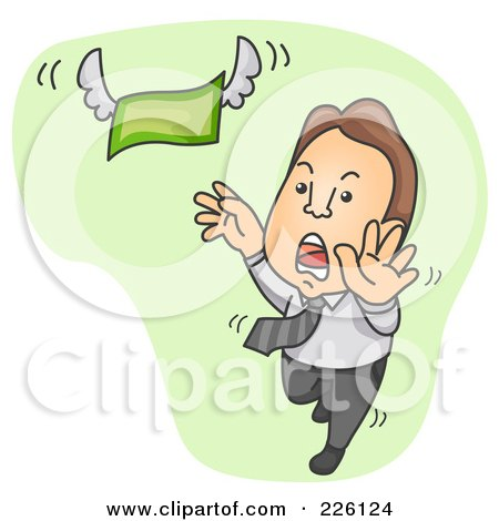 Royalty-Free (RF) Clipart Illustration of a Businessman Chasing And Reaching For Flying Money by BNP Design Studio