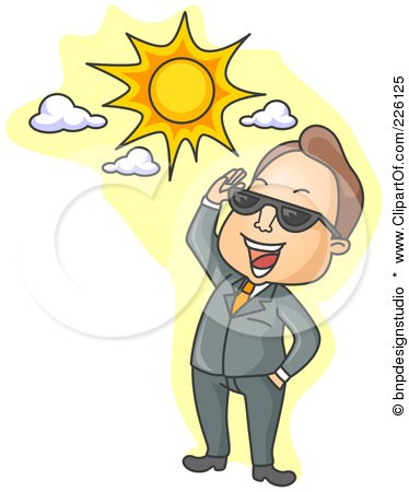 Royalty-Free (RF) Clipart Illustration of a Businessman Smiling Up At The Sun And Looking Through Shades by BNP Design Studio