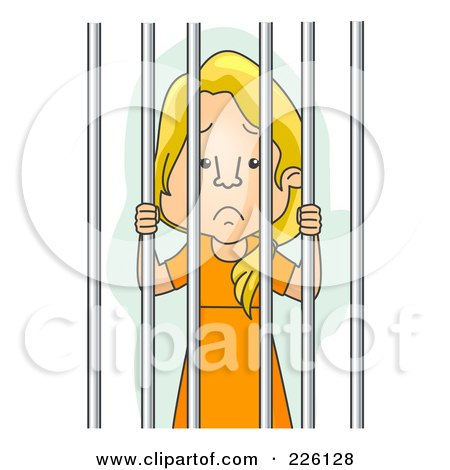 Royalty-Free (RF) Clipart Illustration of a Jailed Woman In Orange by BNP Design Studio