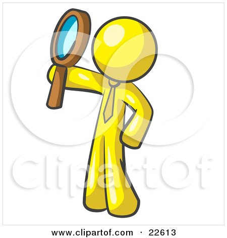 Clipart Illustration of a Yellow Man Holding Up A Magnifying Glass And Peering Through It While Investigating Or Researching Something  by Leo Blanchette