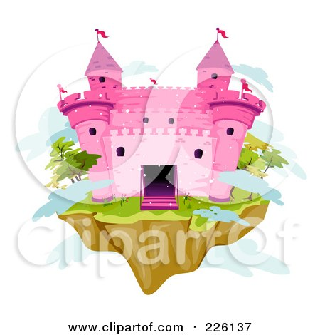 Royalty-Free (RF) Clipart Illustration of a Pink Brick Castle On A Floating Island by BNP Design Studio