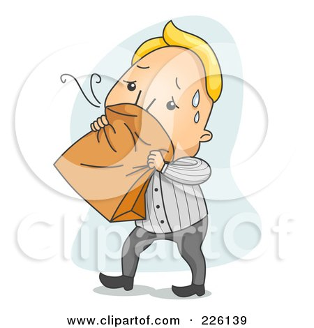 Royalty-Free (RF) Clipart Illustration of a Nauseated Man Breathing Into A Paper Bag by BNP Design Studio