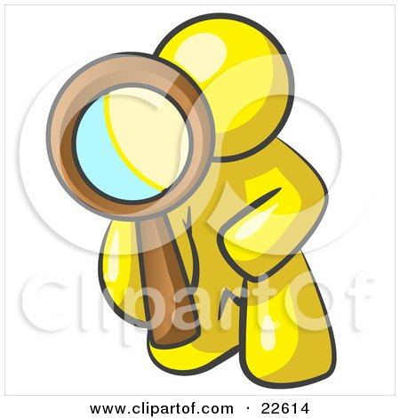 Clipart Illustration of a Yellow Man Kneeling On One Knee To Look Closer At Something While Inspecting Or Investigating by Leo Blanchette