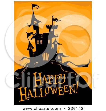 Royalty-Free (RF) Clipart Illustration of a Happy Halloween Greeting Under A Haunted Castle On Orange by BNP Design Studio