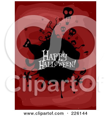 Royalty-Free (RF) Clipart Illustration of a Happy Halloween Greeting On A Black Globe With Skull Balloons And A Cat On Red by BNP Design Studio