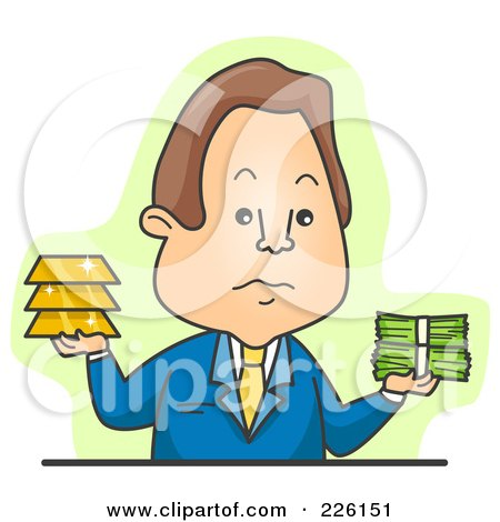 Royalty-Free (RF) Clipart Illustration of a Businessman Weighing Gold Or Greenbacks by BNP Design Studio