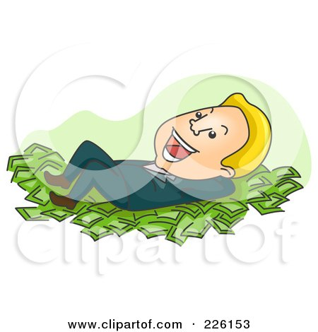 Royalty-Free (RF) Clipart Illustration of a Businessman Resting On A Bed Of Cash by BNP Design Studio