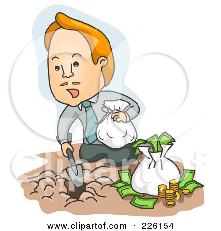 Royalty-Free (RF) Clipart Illustration of a Businessman Burying His Money In The Dirt by BNP Design Studio