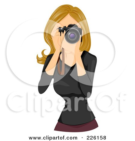 Royalty-Free (RF) Clipart Illustration of a Beautiful Woman Taking Photographs by BNP Design Studio