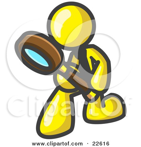 Clipart Illustration of a Yellow Man Bending Over to Inspect Something Through a Magnifying Glass by Leo Blanchette