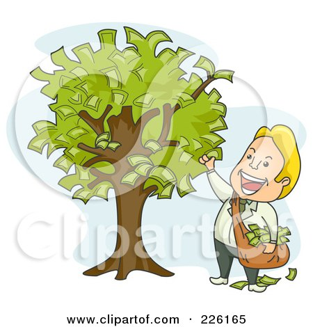 Royalty-Free (RF) Clipart Illustration of a Businessman Picking Money From A Tree by BNP Design Studio