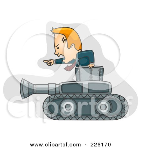 Royalty-Free (RF) Clipart Illustration of a Businessman Moving Forward With A Military Tank by BNP Design Studio