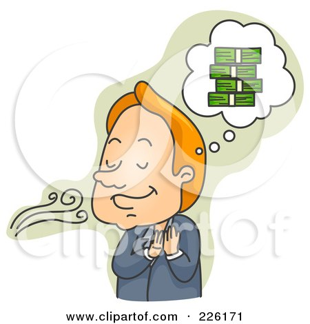 Royalty-Free (RF) Clipart Illustration of a Businessman Smelling A Financial Opportunity by BNP Design Studio