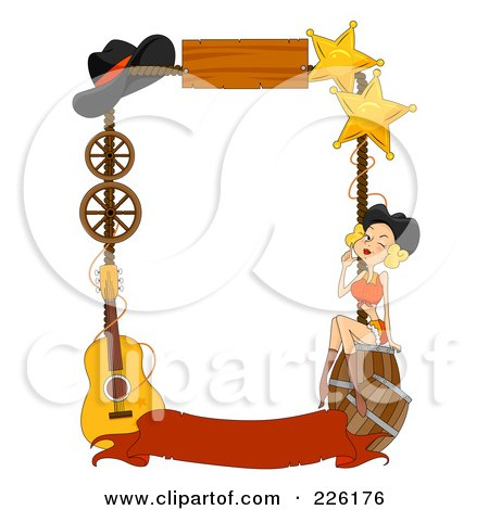 Royalty-Free (RF) Clipart Illustration of a Wild West Frame Of Barrels, A Girl, Stars, Hat, Wheels And Guitar With A Blank Banner by BNP Design Studio