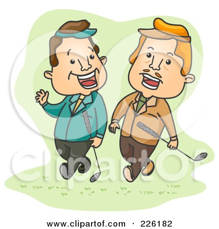 Royalty-Free (RF) Clipart Illustration of Two Businessmen Talking And Playing Golf by BNP Design Studio
