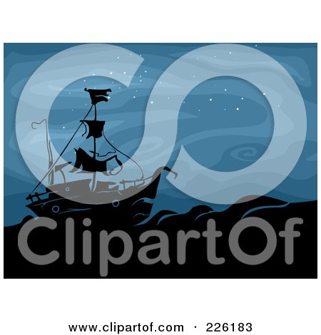 Royalty-Free (RF) Clipart Illustration of a Spooky Ghost Ship At Sea During The Night by BNP Design Studio